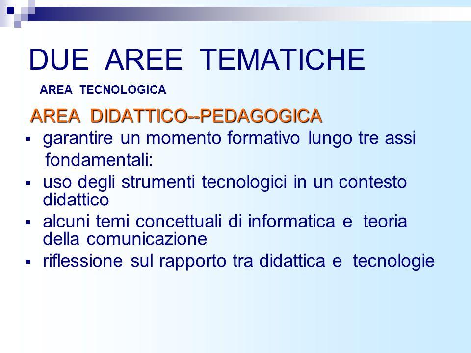 AREA 4: IN CLASSE CON LE TIC Discipline e TIC Ambienti di apprendimento e TIC Valutazione e TIC Diverse abilità e TIC