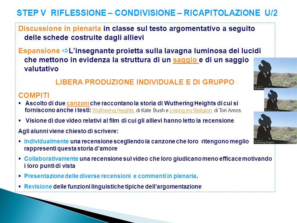 STEP V RIFLESSIONE – CONDIVISIONE – RICAPITOLAZIONE U/2 Discussione in plenaria in classe sul testo argomentativo a seguito delle schede costruite dag