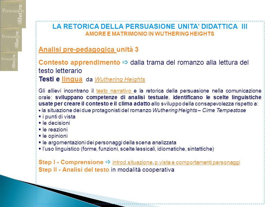 LA RETORICA DELLA PERSUASIONE UNITA DIDATTICA III AMORE E MATRIMONIO IN WUTHERING HEIGHTS Analisi pre-pedagogica Analisi pre-pedagogica unità 3 Contes