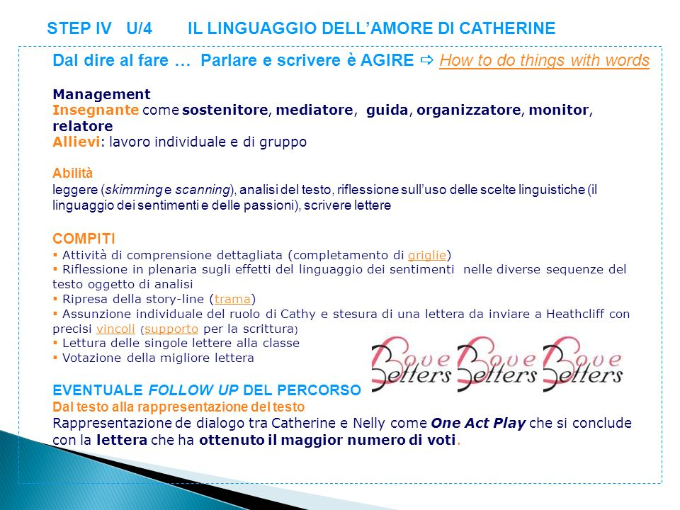 STEP IV U/4 IL LINGUAGGIO DELLAMORE DI CATHERINE Dal dire al fare … Parlare e scrivere è AGIRE How to do things with wordsHow to do things with words