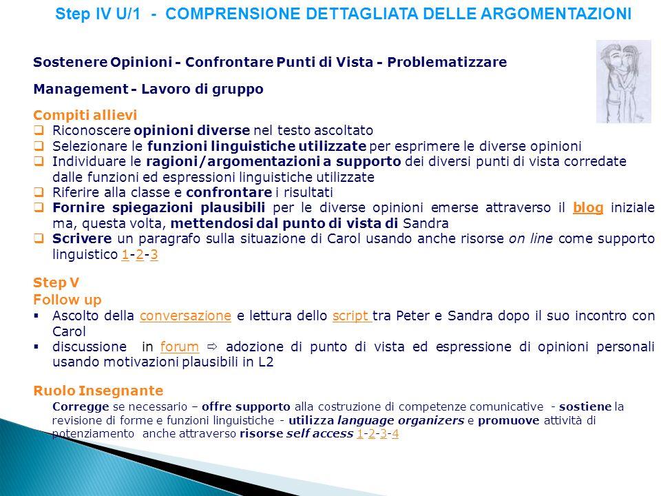 Step IV U/1 - COMPRENSIONE DETTAGLIATA DELLE ARGOMENTAZIONI Sostenere Opinioni - Confrontare Punti di Vista - Problematizzare Management - Lavoro di g