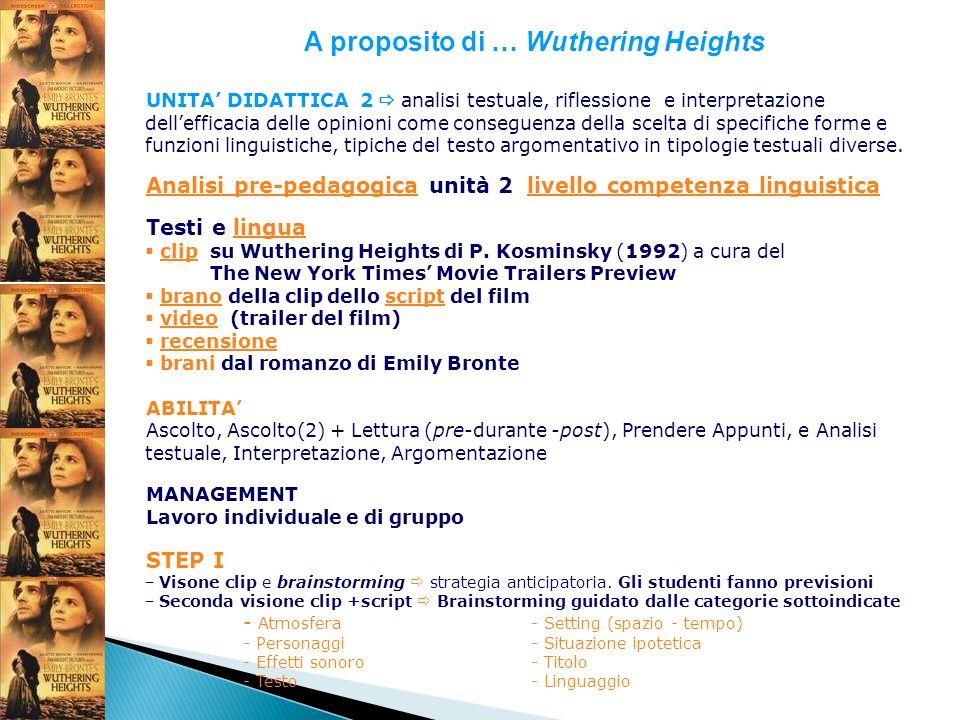 A proposito di … Wuthering Heights UNITA DIDATTICA 2 analisi testuale, riflessione e interpretazione dellefficacia delle opinioni come conseguenza del