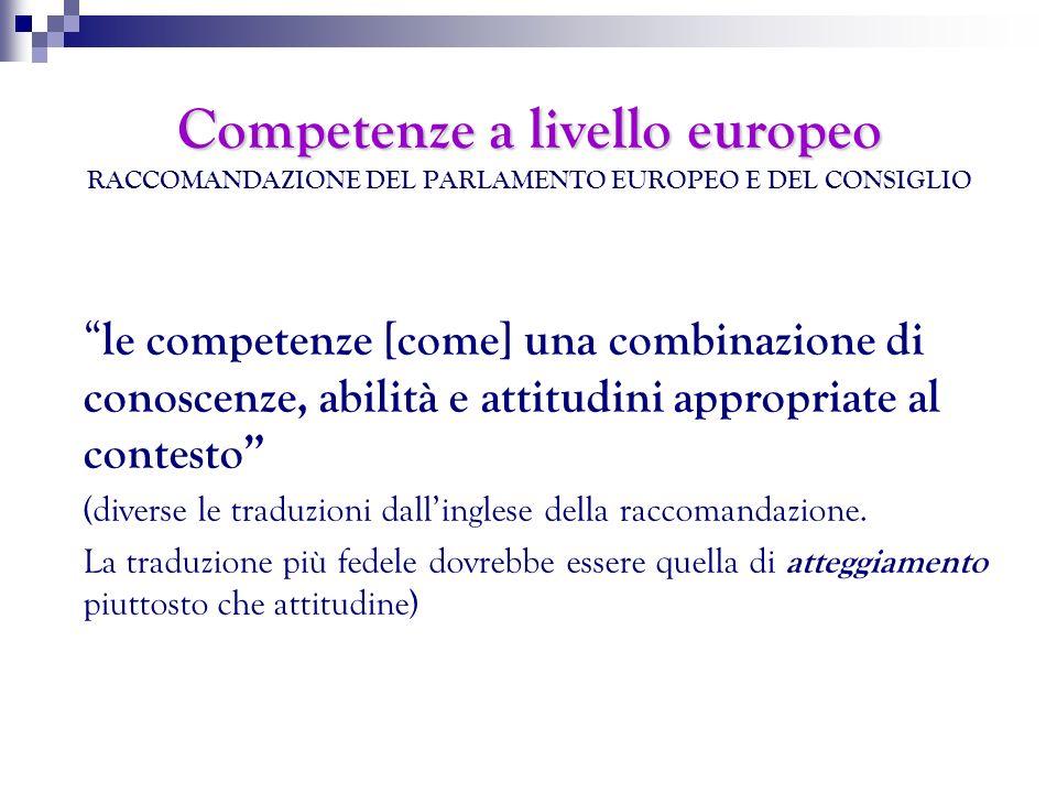 Competenze a livello europeo Competenze a livello europeo RACCOMANDAZIONE DEL PARLAMENTO EUROPEO E DEL CONSIGLIO le competenze [come] una combinazione
