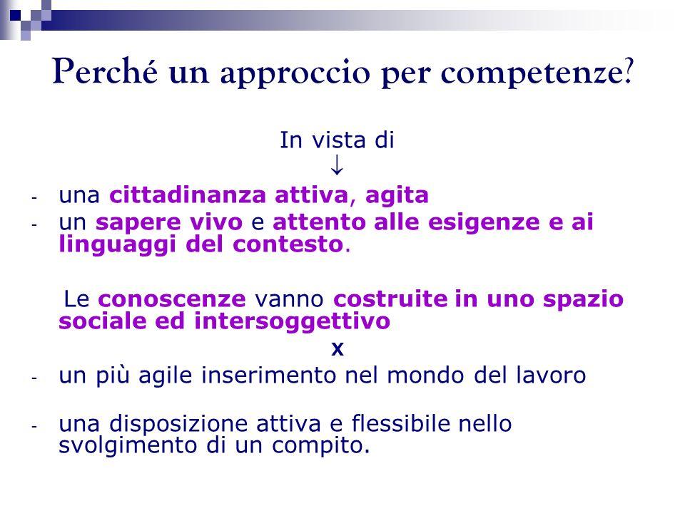 Perché un approccio per competenze ? In vista di - una cittadinanza attiva, agita - un sapere vivo e attento alle esigenze e ai linguaggi del contesto
