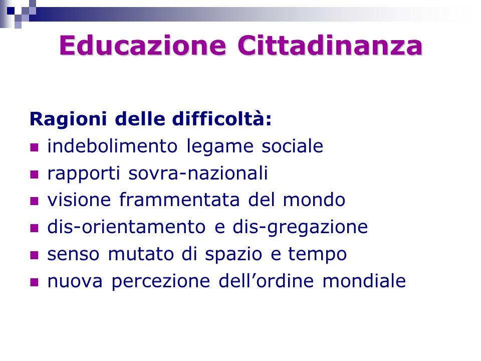 Educazione Cittadinanza Ragioni delle difficoltà: indebolimento legame sociale rapporti sovra-nazionali visione frammentata del mondo dis-orientamento