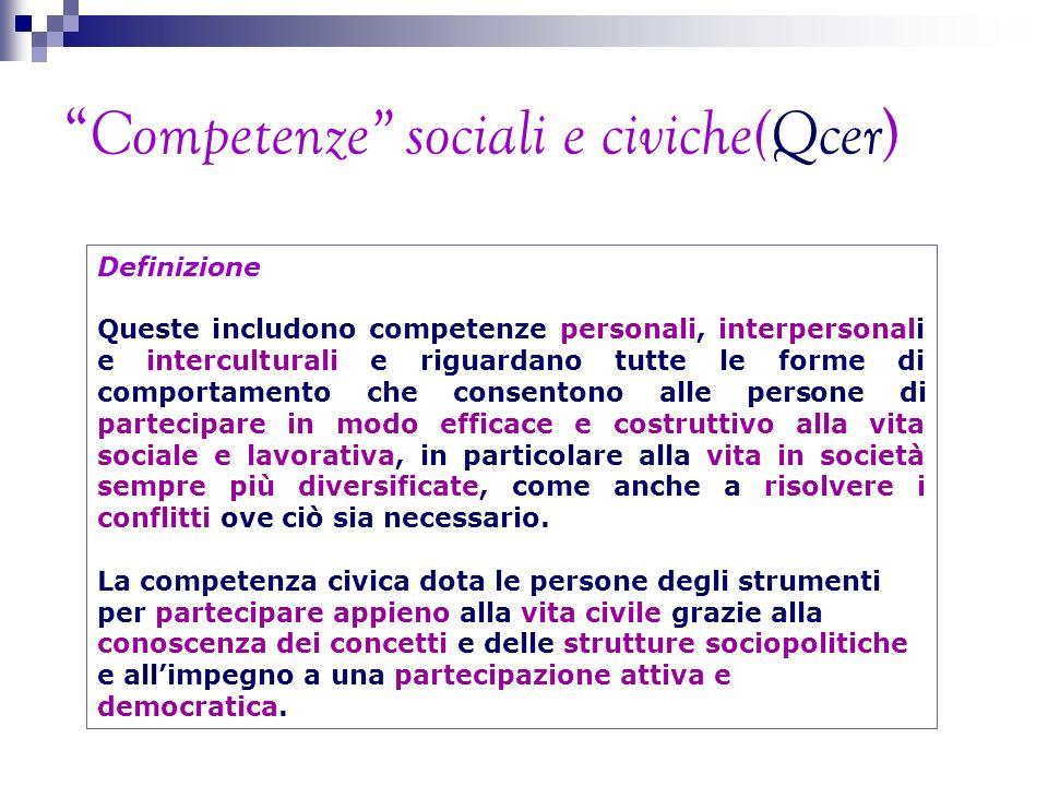 Competenze sociali e civiche(Qcer ) Definizione Queste includono competenze personali, interpersonali e interculturali e riguardano tutte le forme di