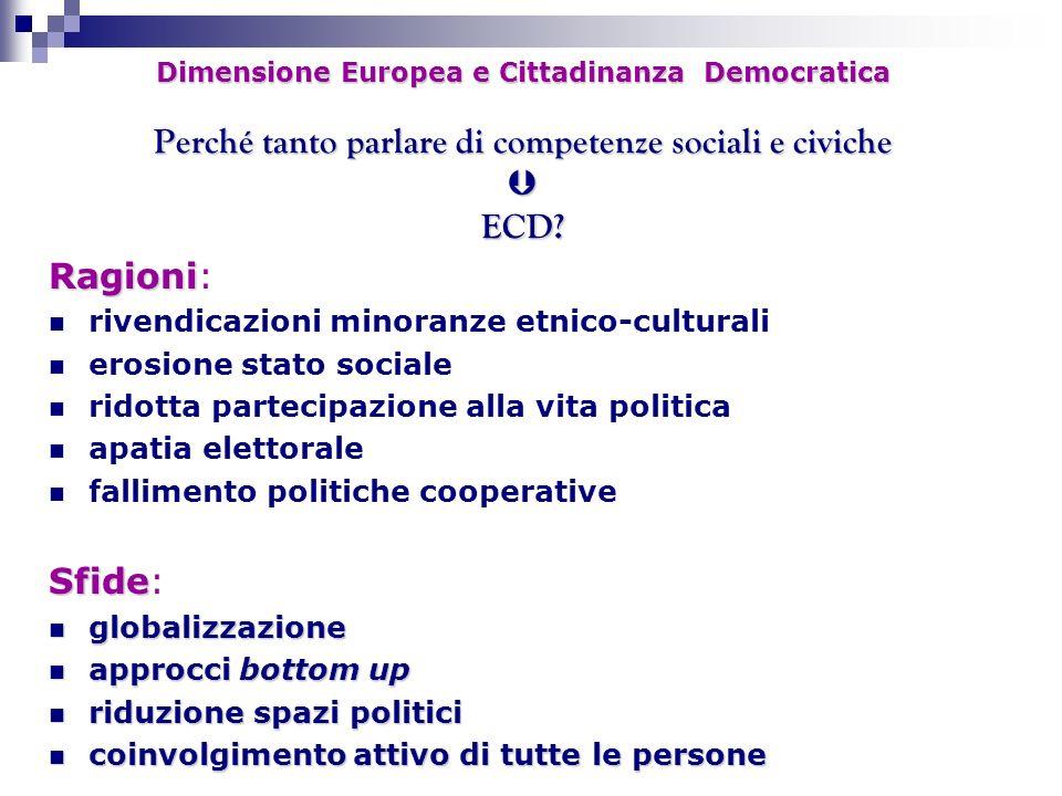 Dimensione Europea e Cittadinanza Democratica Perché tanto parlare di competenze sociali e civiche ECD? Ragioni Ragioni: rivendicazioni minoranze etni