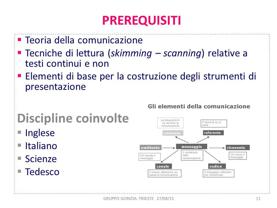 GRUPPO GORIZIA- TRIESTE 27/04/1111 PREREQUISITI Teoria della comunicazione Tecniche di lettura (skimming – scanning) relative a testi continui e non E