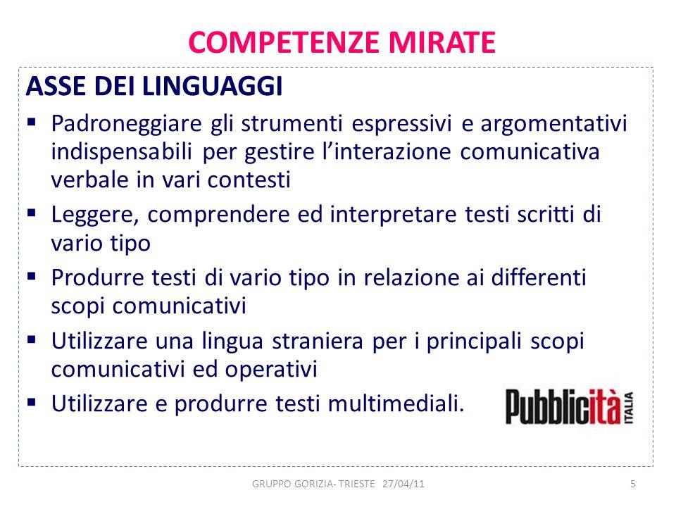 5 COMPETENZE MIRATE ASSE DEI LINGUAGGI Padroneggiare gli strumenti espressivi e argomentativi indispensabili per gestire linterazione comunicativa ver