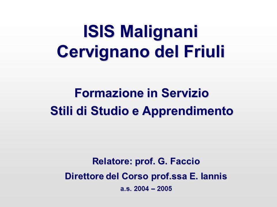 ISIS Malignani Cervignano del Friuli Formazione in Servizio Stili di Studio e Apprendimento Relatore: prof. G. Faccio Direttore del Corso prof.ssa E.