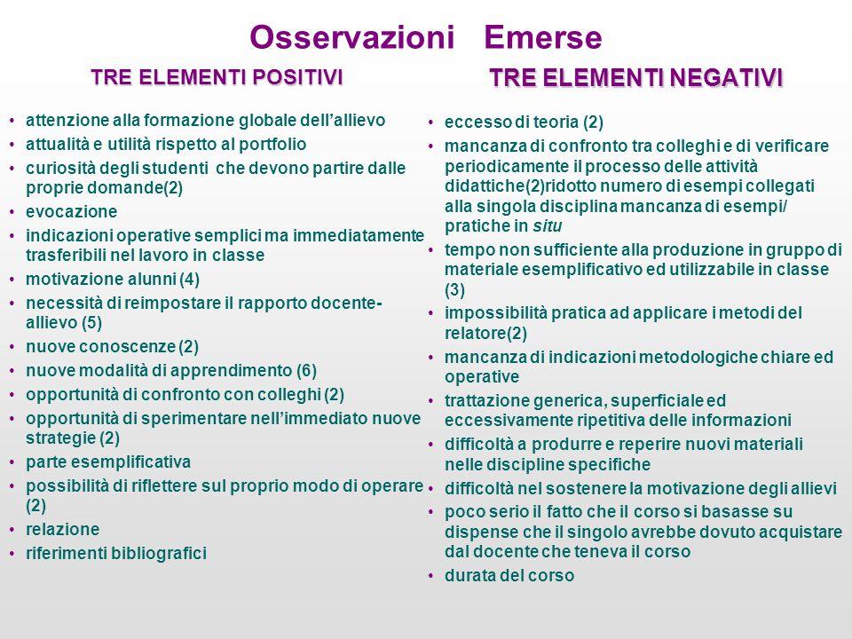 Osservazioni Emerse TRE ELEMENTI POSITIVI attenzione alla formazione globale dellallievo attualità e utilità rispetto al portfolio curiosità degli stu