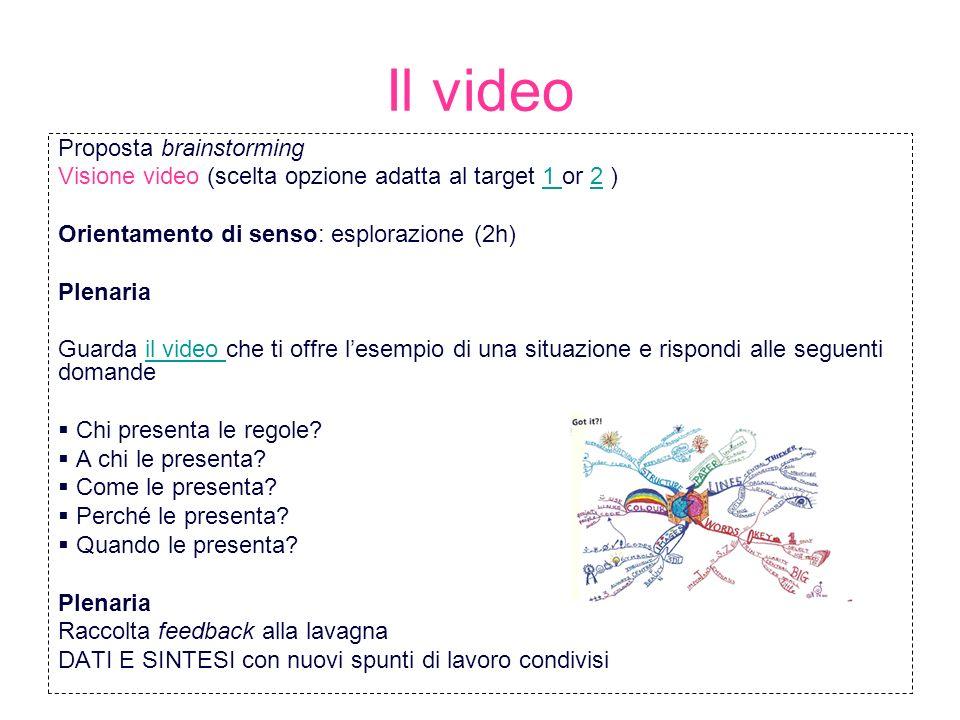 Il video Proposta brainstorming Visione video (scelta opzione adatta al target 1 or 2 )1 2 Orientamento di senso: esplorazione (2h) Plenaria Guarda il