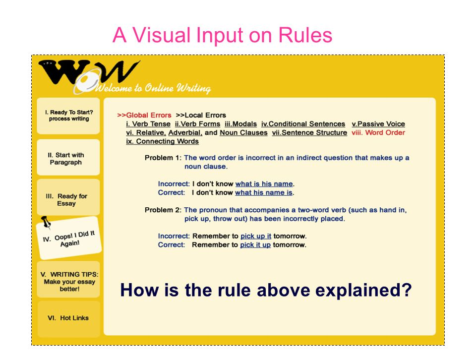 A Visual Input on Rules How is the rule above explained?