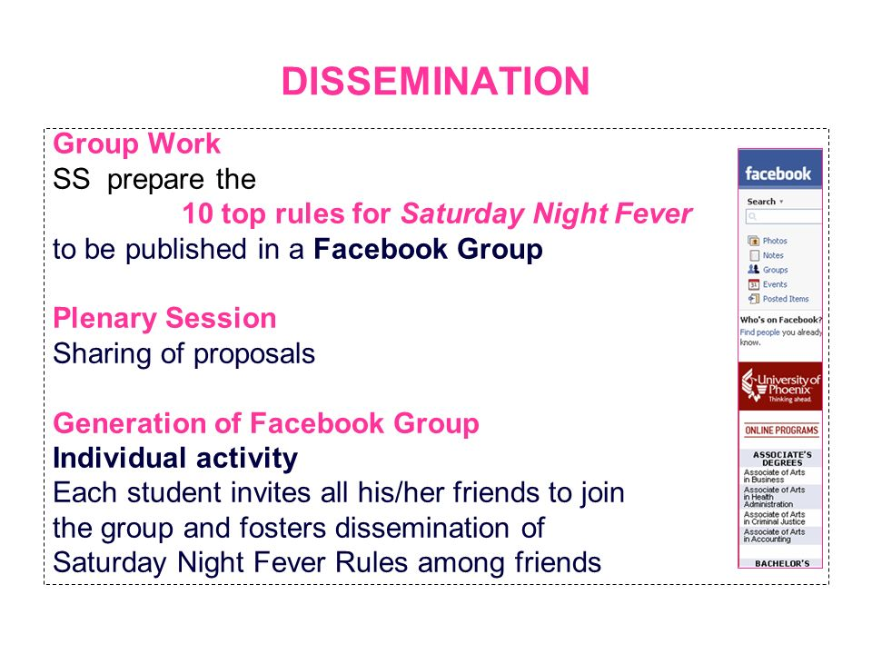 DISSEMINATION Group Work SS prepare the 10 top rules for Saturday Night Fever to be published in a Facebook Group Plenary Session Sharing of proposals