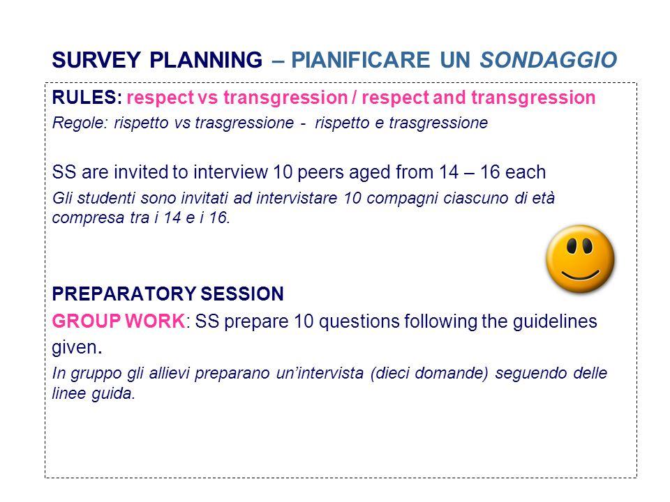 SURVEY PLANNING – PIANIFICARE UN SONDAGGIO RULES: respect vs transgression / respect and transgression Regole: rispetto vs trasgressione - rispetto e