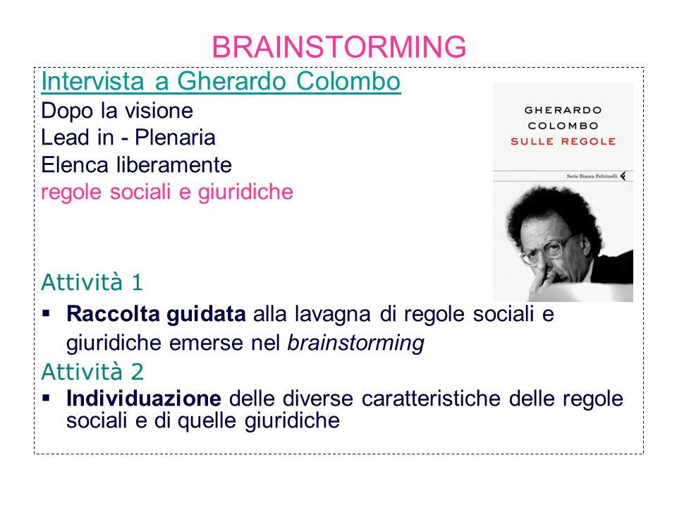 BRAINSTORMING Intervista a Gherardo Colombo Dopo la visione Lead in - Plenaria Elenca liberamente regole sociali e giuridiche Attività 1 Raccolta guid