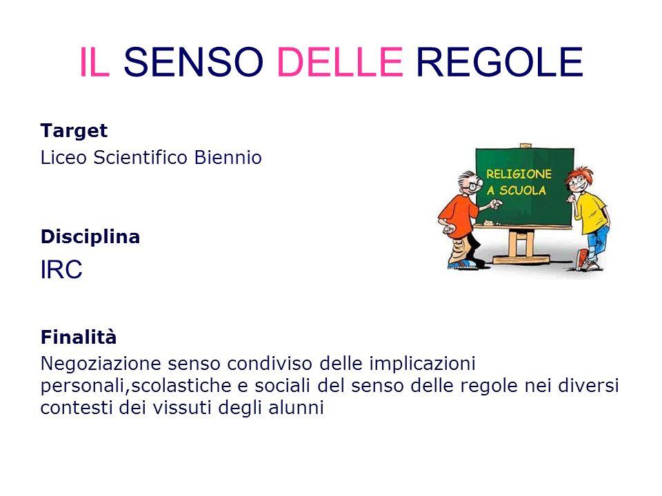 IL SENSO DELLE REGOLE Target Liceo Scientifico Biennio Disciplina IRC Finalità Negoziazione senso condiviso delle implicazioni personali,scolastiche e