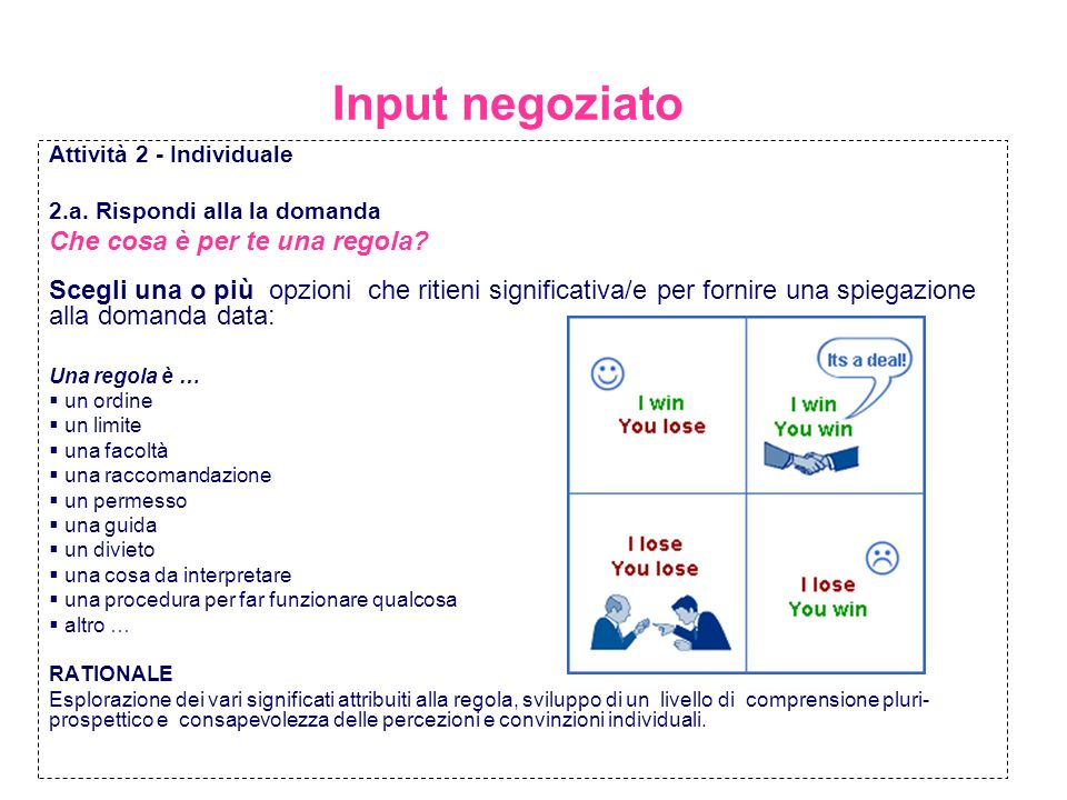 Input negoziato Attività 2 - Individuale 2.a. Rispondi alla la domanda Che cosa è per te una regola? Scegli una o più opzioni che ritieni significativ
