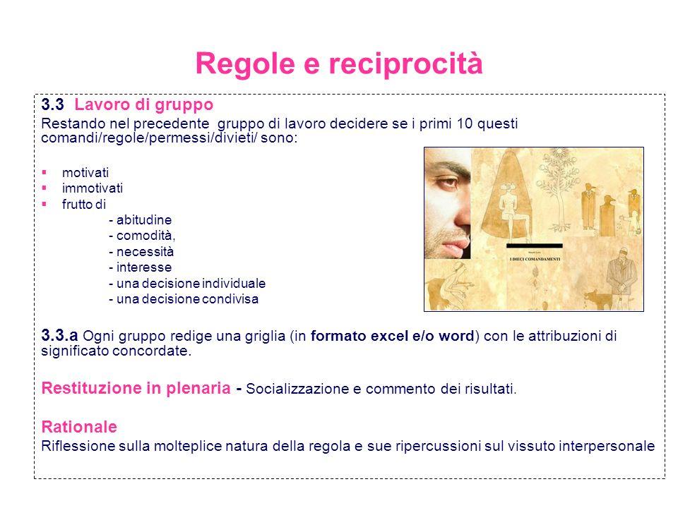 Regole: limite od opportunità STEP II Regole culturali e interculturali La Regola dOro come Etica Universale Attività 4 - Lavoro di gruppo 4.1.