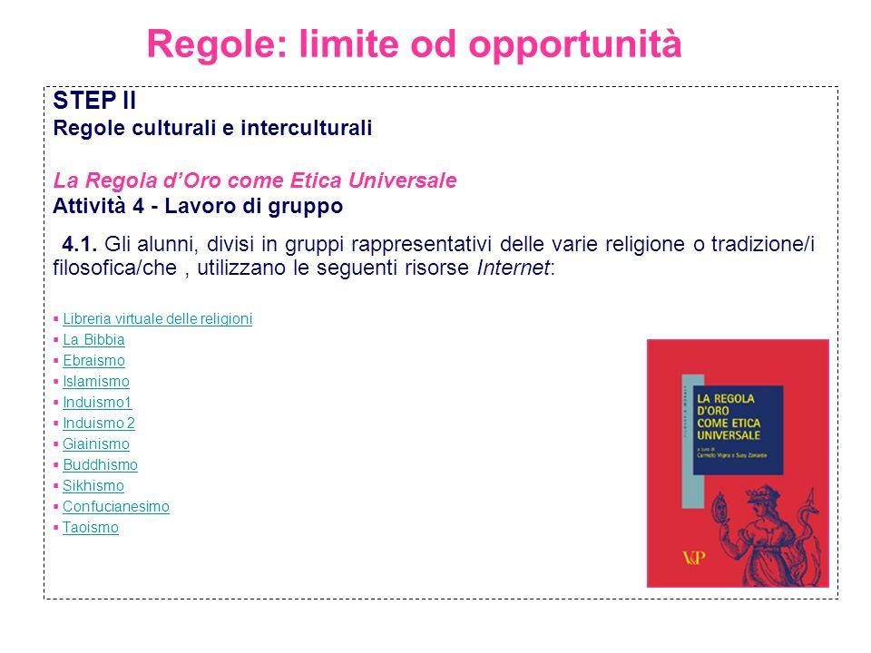 Regole: limite od opportunità STEP II Regole culturali e interculturali La Regola dOro come Etica Universale Attività 4 - Lavoro di gruppo 4.1. Gli al