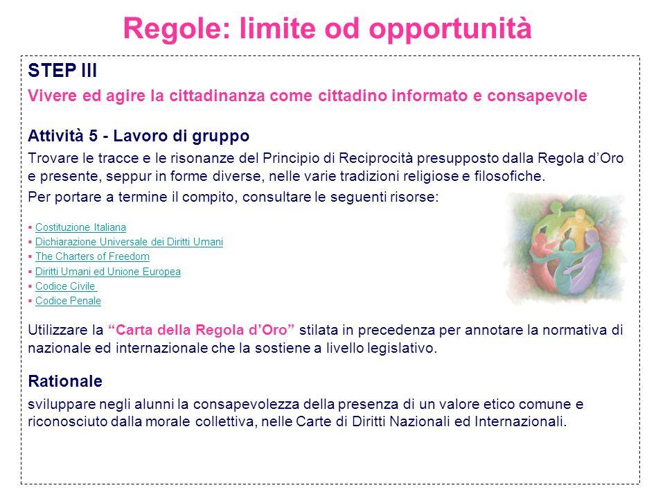 Regole: limite od opportunità STEP III Vivere ed agire la cittadinanza come cittadino informato e consapevole Attività 5 - Lavoro di gruppo Trovare le
