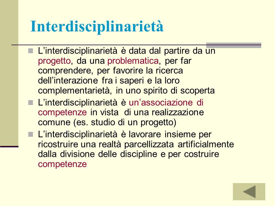 Interdisciplinarietà Linterdisciplinarietà è data dal partire da un progetto, da una problematica, per far comprendere, per favorire la ricerca dellin