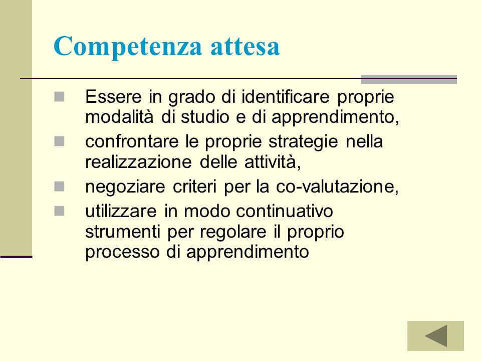 Competenza attesa Essere in grado di identificare proprie modalità di studio e di apprendimento, confrontare le proprie strategie nella realizzazione