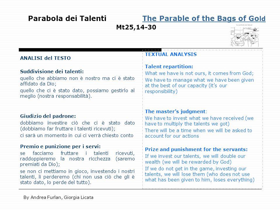 Parabola dei Talenti The Parable of the Bags of Go ld Mt25,14-30The Parable of the Bags of Go ld ANALISI del TESTO Suddivisione dei talenti: quello ch