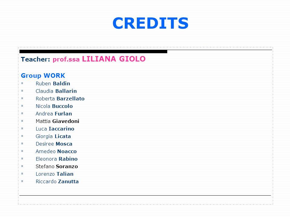 CREDITS Teacher: prof.ssa LILIANA GIOLO Group WORK Ruben Baldin Claudia Ballarin Roberta Barzellato Nicola Buccolo Andrea Furlan Mattia Giavedoni Luca