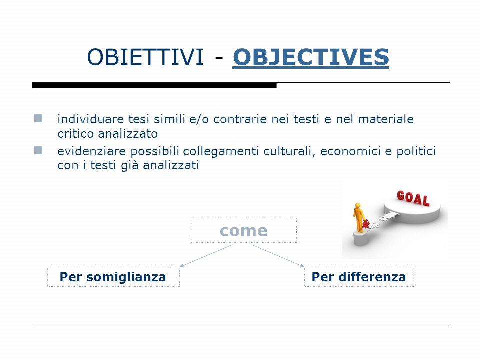 OBIETTIVI - OBJECTIVESOBJECTIVES individuare tesi simili e/o contrarie nei testi e nel materiale critico analizzato evidenziare possibili collegamenti