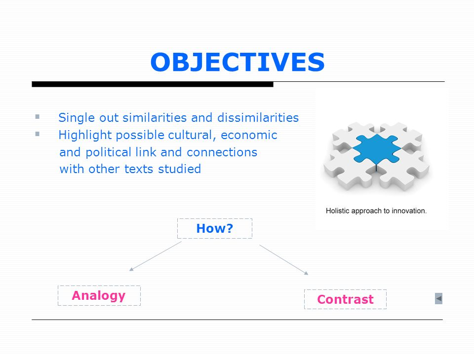 OBJECTIVES Single out similarities and dissimilarities Highlight possible cultural, economic and political link and connections with other texts studi