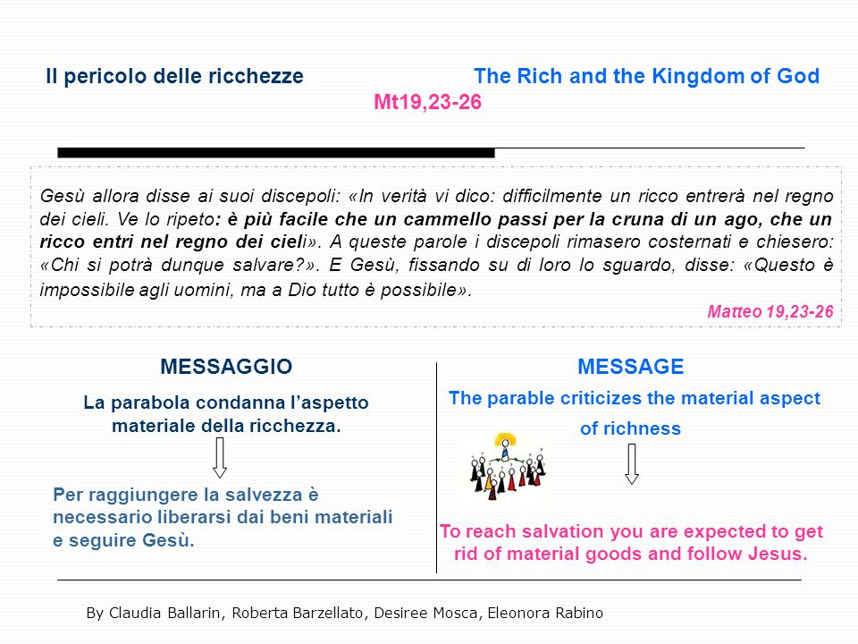 Il pericolo delle ricchezze The Rich and the Kingdom of God Mt19,23-26 Gesù allora disse ai suoi discepoli: «In verità vi dico: difficilmente un ricco