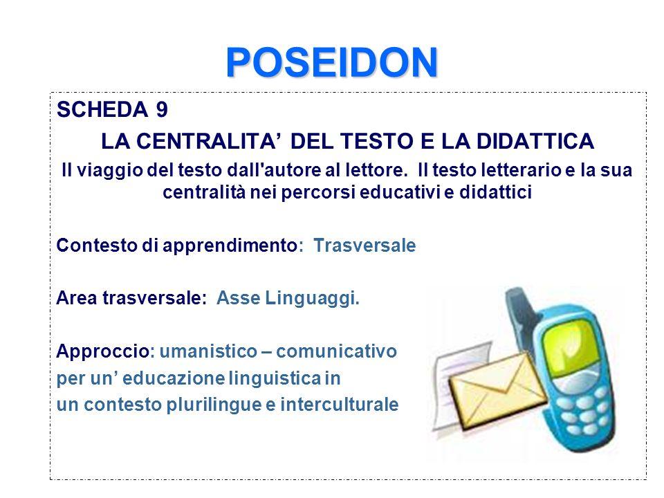 POSEIDON SCHEDA 9 LA CENTRALITA DEL TESTO E LA DIDATTICA Il viaggio del testo dall'autore al lettore. Il testo letterario e la sua centralità nei perc