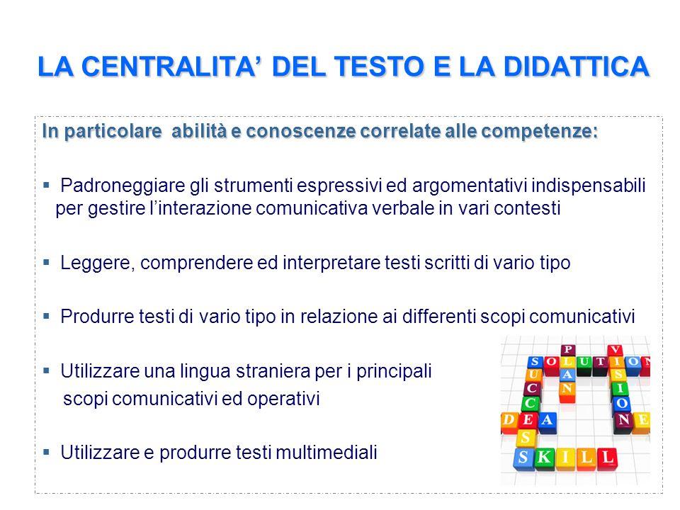 LA CENTRALITA DEL TESTO E LA DIDATTICA In particolare abilità e conoscenze correlate alle competenze: Padroneggiare gli strumenti espressivi ed argome