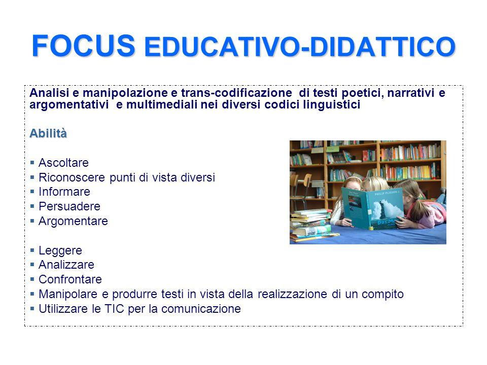 FOCUS EDUCATIVO-DIDATTICO Analisi e manipolazione e trans-codificazione di testi poetici, narrativi e argomentativi e multimediali nei diversi codici
