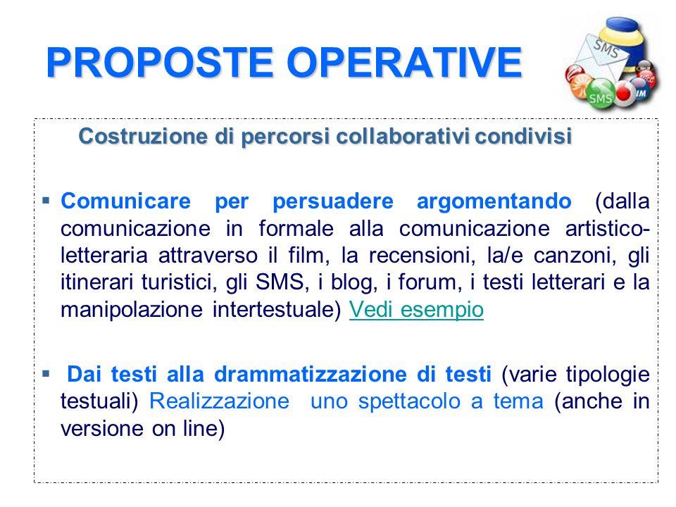 PROPOSTE OPERATIVE Costruzione di percorsi collaborativi condivisi Comunicare per persuadere argomentando (dalla comunicazione in formale alla comunic