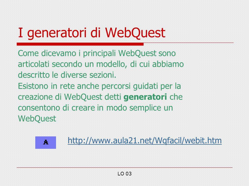 LO 03 I generatori di WebQuest Come dicevamo i principali WebQuest sono articolati secondo un modello, di cui abbiamo descritto le diverse sezioni.