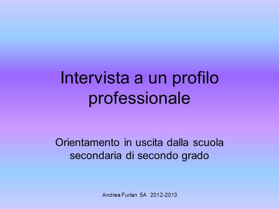 Andrea Furlan 5A 2012-2013 Intervista a un profilo professionale Orientamento in uscita dalla scuola secondaria di secondo grado