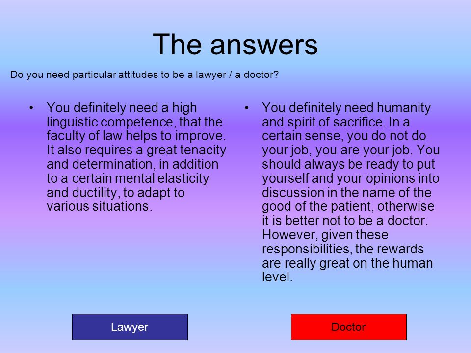 The answers You definitely need a high linguistic competence, that the faculty of law helps to improve. It also requires a great tenacity and determin