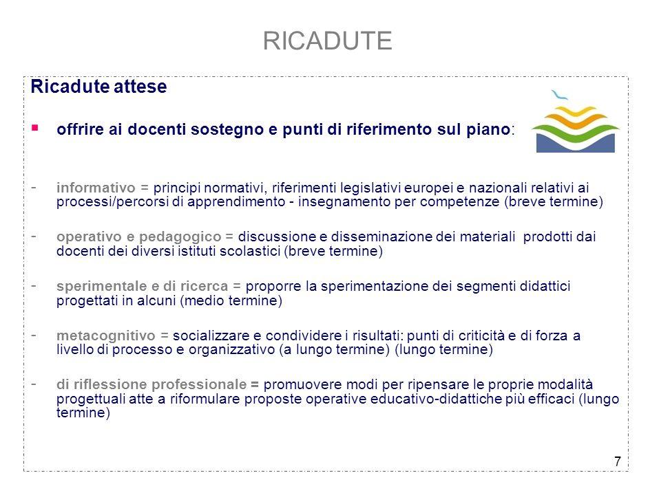 7 RICADUTE Ricadute attese offrire ai docenti sostegno e punti di riferimento sul piano: - informativo = principi normativi, riferimenti legislativi e