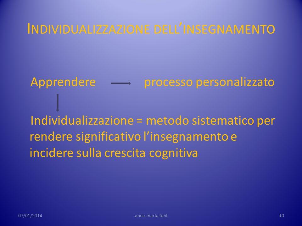 I NDIVIDUALIZZAZIONE DELL INSEGNAMENTO Apprendere processo personalizzato Individualizzazione = metodo sistematico per rendere significativo linsegnam