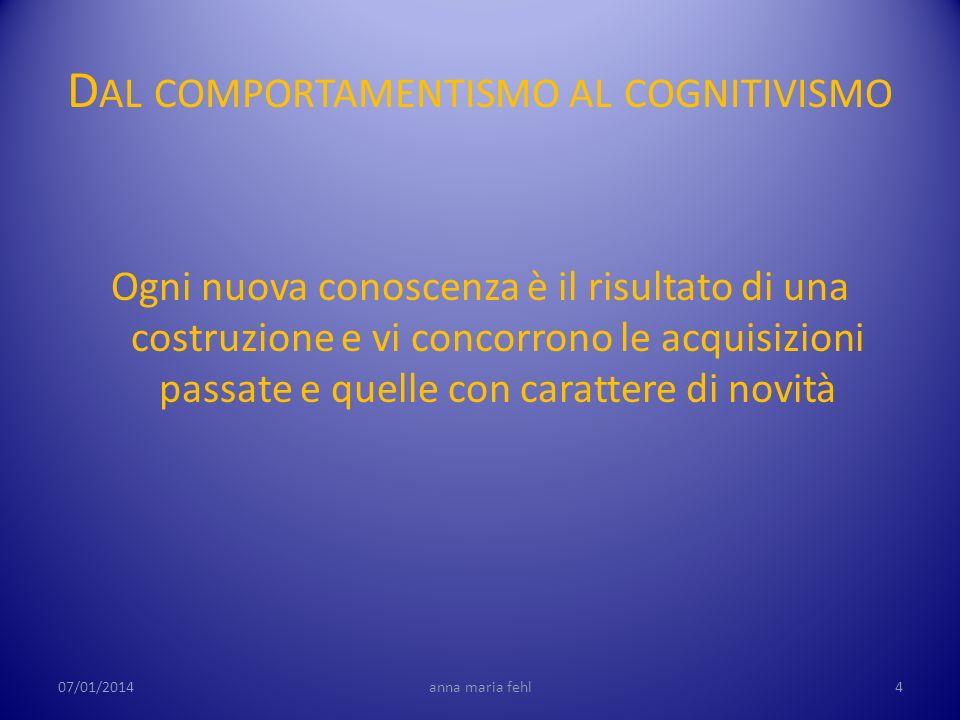 D AL COMPORTAMENTISMO AL COGNITIVISMO Ogni nuova conoscenza è il risultato di una costruzione e vi concorrono le acquisizioni passate e quelle con car