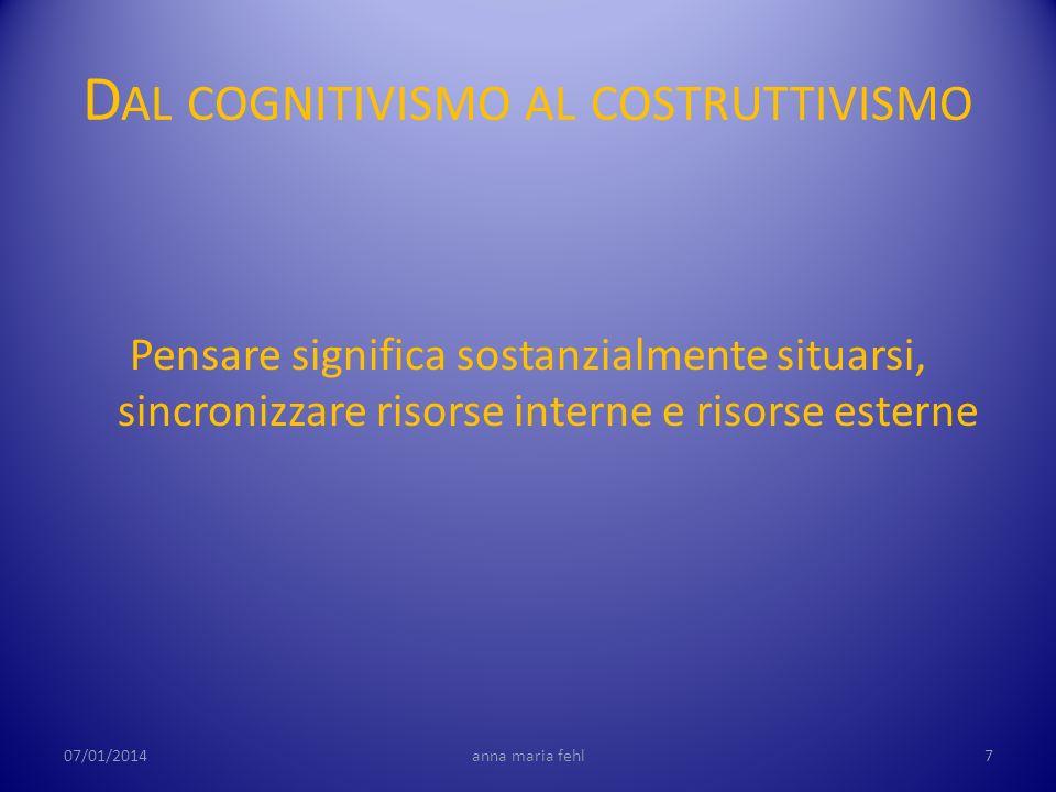 D AL COGNITIVISMO AL COSTRUTTIVISMO Pensare significa sostanzialmente situarsi, sincronizzare risorse interne e risorse esterne 07/01/20147anna maria