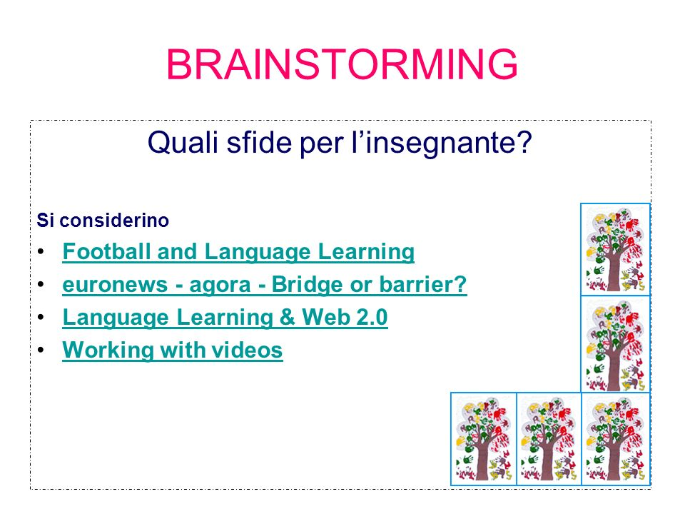 4 BRAINSTORMING Quali sfide per linsegnante? Si considerino Football and Language Learning euronews - agora - Bridge or barrier? Language Learning & W