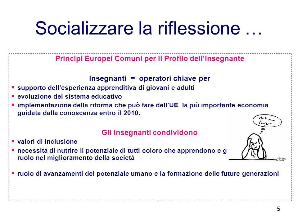 5 Socializzare la riflessione … Principi Europei Comuni per il Profilo dellInsegnante Insegnanti = operatori chiave per supporto dellesperienza appren