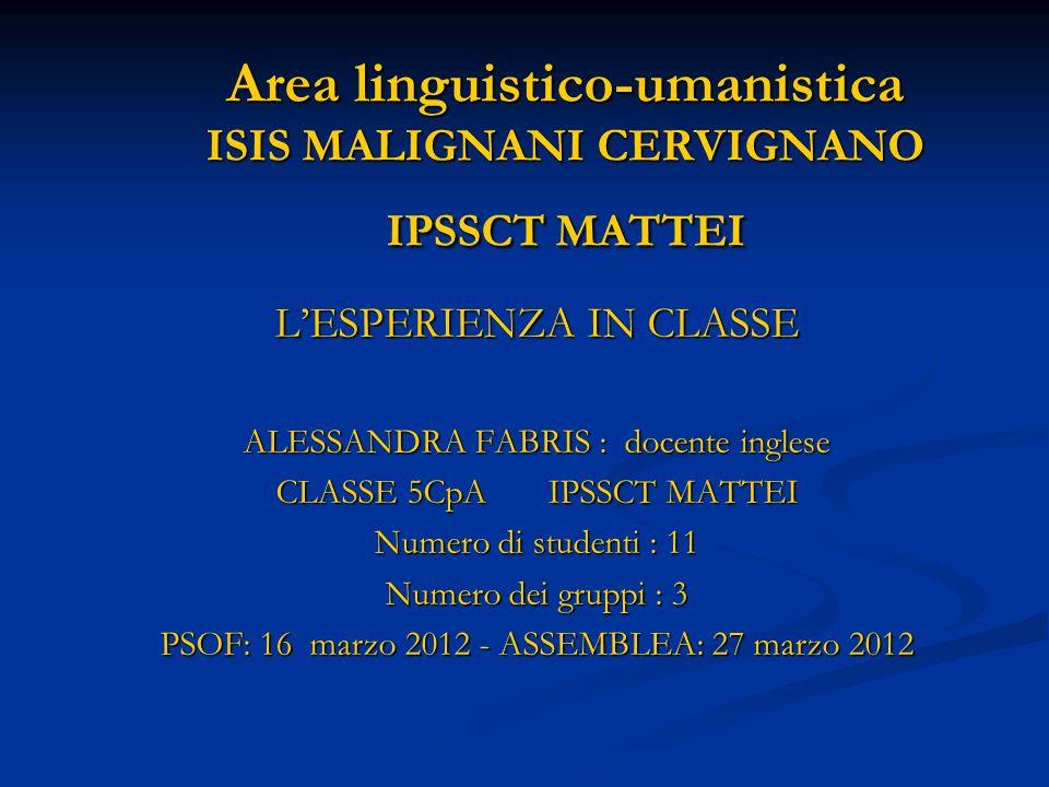 Area linguistico-umanistica ISIS MALIGNANI CERVIGNANO IPSSCT MATTEI LESPERIENZA IN CLASSE ALESSANDRA FABRIS : docente inglese CLASSE 5CpA IPSSCT MATTE