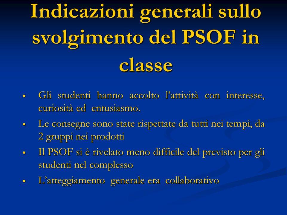 Indicazioni generali sullo svolgimento del PSOF in classe Gli studenti hanno accolto lattività con interesse, curiosità ed entusiasmo. Gli studenti ha