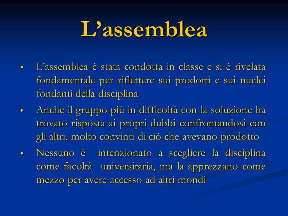 Lassemblea Lassemblea è stata condotta in classe e si è rivelata fondamentale per riflettere sui prodotti e sui nuclei fondanti della disciplina Lasse