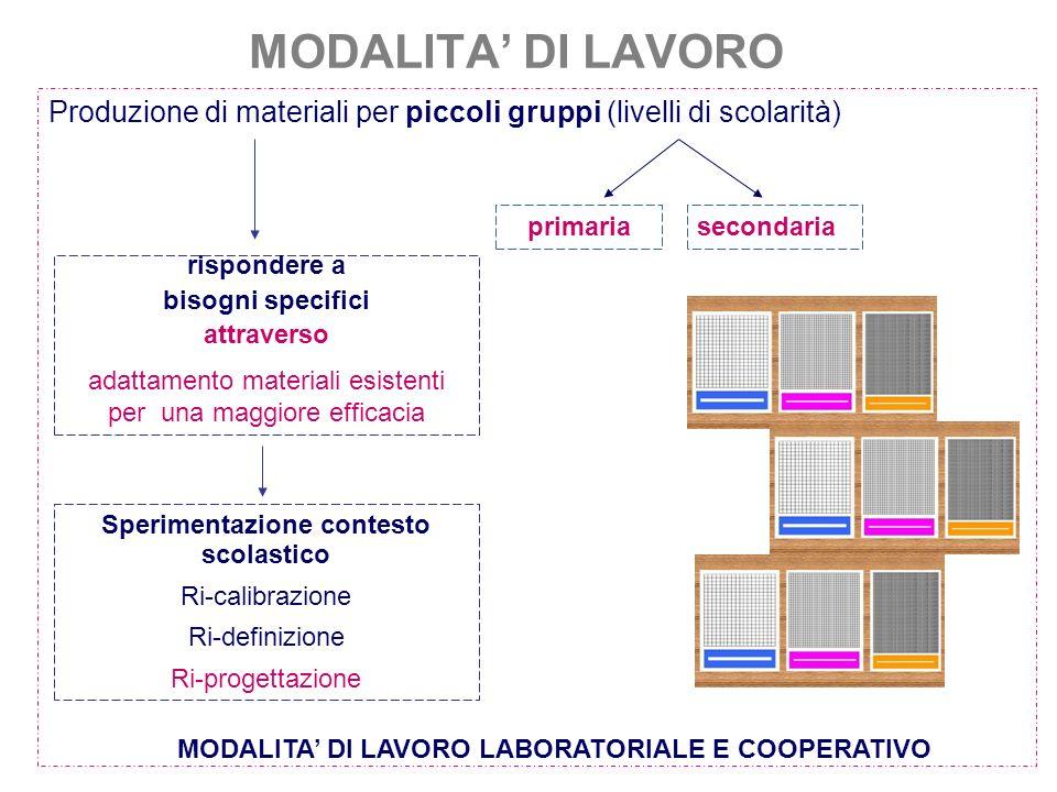 MODALITA DI LAVORO Produzione di materiali per piccoli gruppi (livelli di scolarità) secondariaprimaria rispondere a bisogni specifici attraverso adat