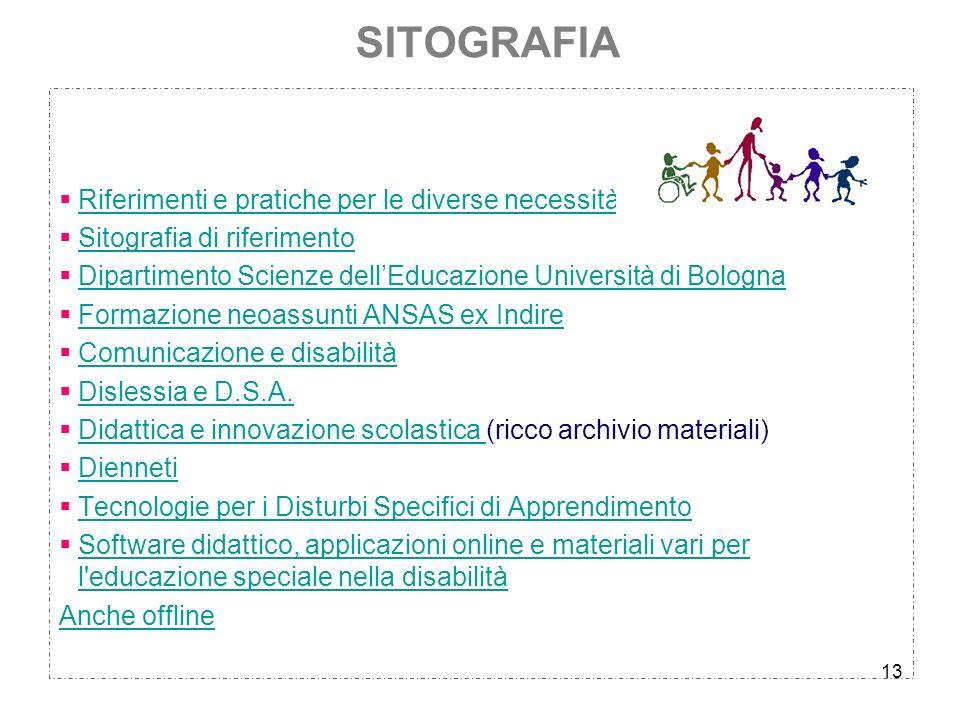 13 SITOGRAFIA Riferimenti e pratiche per le diverse necessità Sitografia di riferimento Dipartimento Scienze dellEducazione Università di Bologna Form